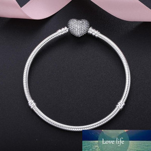 925 Silver Plated Cubic Zircon Heart Charm Bracelets Fit European Bead Statement Jewelry Bangle for Women Men Christmas Gift