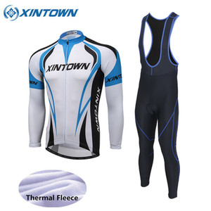 XINTOWN Winter Thermal Fleece Sky Blue Cycling Clothing Sportwear MTB Bike Bicycle Sets Men Cycling Jersey Set Ropa Ciclismo