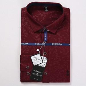 Dudalina Men Shirt Camisa Social Masculina Jacquard Stickerei Langarm Business Casual Shirts Männer X1GH #