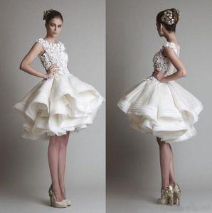 krikor jabotian short lace wedding dresses 2019 bateau cap sleeves backless knee length A line chiffon beach bridal gowns