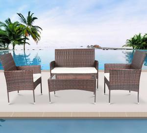 4 piezas seccionales de ratán muebles del patio de mimbre Conversación césped del jardín al aire libre del sofá de asiento acolchado vidrio templado Tabla W36812141