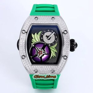 Top version RM19-02 TOURBILLON FLEUR Magnolia Dial Miyota Automatic RM 019 Mens Watch Silver Diamond Case Rubber Strap Luxry Unisex Watches