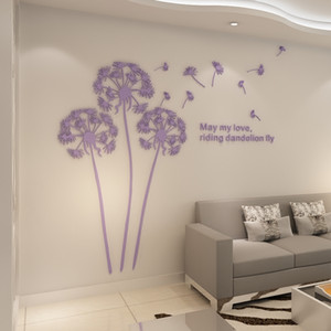 Hot Sale Dandelion 3D Wall Sticker Crytsal Mirror Acrylic Stickers For Living Room Bedroom Kitchen Home Decor 2.3x2.1m Sticker