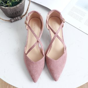5cm High Heels Shoes Woman Cross-Tied Flock Pointed Toe Thin Heels Pumps Shoes Female Nude Elegant Sandals Party Wedding Shoes 200923
