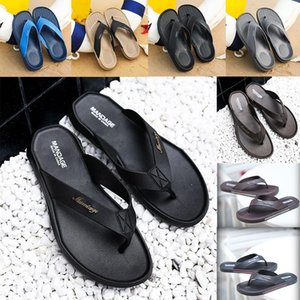 Lastest Markendesign Sliders Mens-Sommer-Sandelholz-Strand-Hausschuhe Anti-Rutsch-Flip-Flops Slipper schwarz khaki blau grau Slides Chaussures Schuhe
