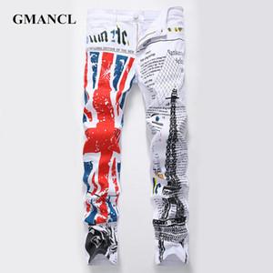 GMANCL New Arrival fashion Men Letter printed Jeans Denim Pants 2020 Male Regular Hip Hop Plus Size Casual Straight Jeans Hombre