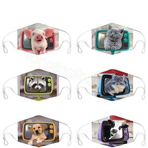 Masque de visage imprimé animal 3D dessin animé cow-boy chat chat unisexe faces fondue anti-poussière RESUBLES COUVERTURE DE VISAGE CYCLING MASQUE DE LA BOUCHE FFA4387-1
