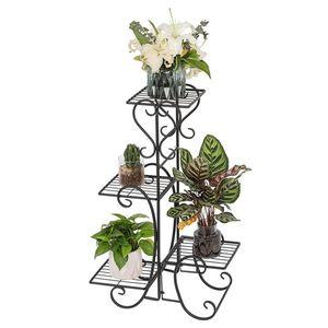 4 Square vaso Ripiani metallo fiore Vaso da fiori Allestimento Stand per Interni Esterni Giardino Nero