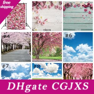 Floresta Árvores Backdrops Cherry Blossom Tree Wallpaper Decor Primavera Relva Flor contexto Photo Props Estúdio Background 85 * 125 centímetros