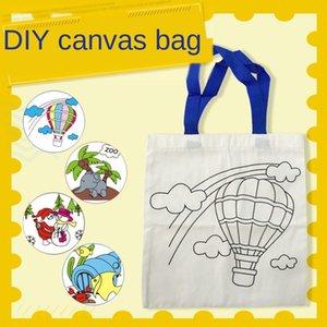 DIY self-made portable children's hand-painted Diy Shoulder canvas graffiti cotton bag creative shoulder canvas bag