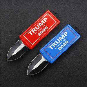 venta caliente EXOCET Donald John Trump campaña de 2020 consigna de mini mango de aleación de aluminio automático de cuchillas de acero 440 se puede personalizar el color mango