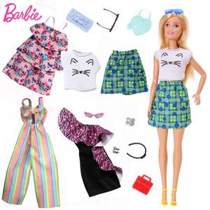 Barbie Orjinal Mix Bebekler Moda Çamaşır Kıyafetler Seti Oyuncak İçin Kız Çocuk Aksesuar Ev Partiyi oyna elega Doll Ayakkabı elbise