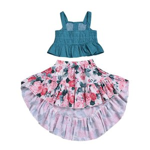 Baby Girls Flower Outfits Children Sling Dot Top+Floral Print Skirts 2pcs set 2019 Summer Fashion Kids Clothing Sets