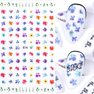 Eco-friendly1 Sheet Colorful 3D Nail Art Stickers Sliders Black Flowers Adhesive Nail Decals Foil Design DIY Ins Nail Art Decoration