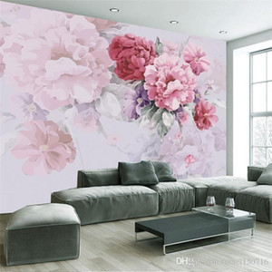 미국 마을 목회 벽지 침실 거실 TV 배경 벽지 따뜻한 꽃 큰 벽 캔버스 홈 장식 손으로 그린