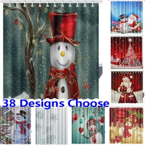 Weihnachtsduschvorhänge 3D neue wasserdichte Polyester-Gewebe Badezimmer-Vorhang XMAS Dekoration 165 * 180cm 38 Designs HH7-230