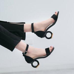 Lucyever 2019 Sommer weibliche High Heel Sandaletten Frauen Seltsame Art reizvolle geöffnete Zehe-Knöchel-Bügel-Partei-Pumpen Sandalia Feminina