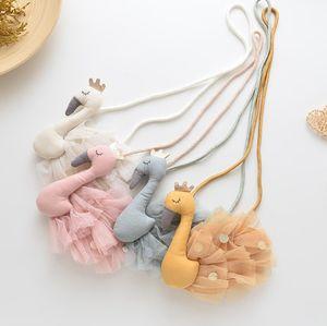 Children swan handbags girls gauze sequins cartoon bags fashion kids cloth priincess messenger bag A4117