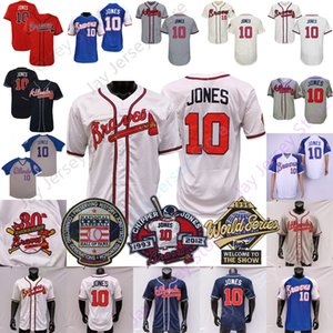 Chipper Jones Jersey 1995 1999 WS 2018 Hall Of Fame pensionamento Patch Cooperstown Atlanta Pullover Button Down ricamo