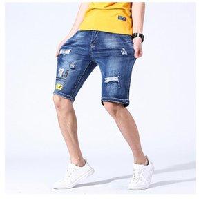 Дизайнер Лето Короткие штаны Летние мужские шорты Hole письмо отбеленные джинсы Scratched Длина колена Негабаритные Mens