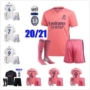 Erwachsenen-Kit 20 21 Fußball Jerseys kurz Real Madrid Home Away Dritte Fußball GEFAHR ZIDANE BENZEMA Fußballhemd Camiseta De Futbol Männer-Sets