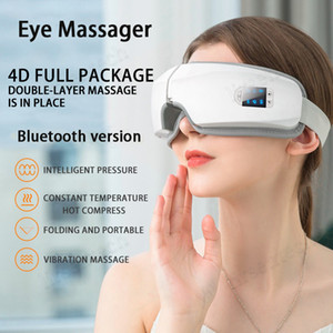 4D intelligente Airbag Vibration Eye Massager Eye Care Relax Instrument Hot Compress LCD USB de charge Bluetooth fatigue des yeux Massage Lunettes