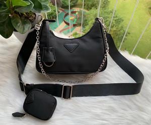 Горячие 2pcs Продажа / комплект Hobo для женщин сумки для женщин Цепочки Chest пакет Lady дальнозоркостью нейлоновая сумка сумка на ремне сумки Tote
