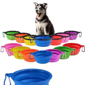 Pet Dog Bowls portátil dobrável Dog Food Container Silicone Pet Bowl filhote de cachorro dobrável Bowls Pet Feeding Bowls com Escalada Buckle ZCGY40