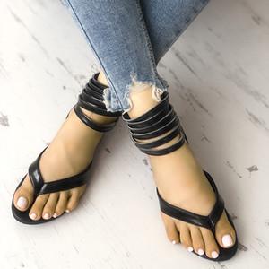 Sandalet Yaz Kadın Gladyatör Flip Floplar PU Ayak Bileği Kayışı Flats Kadın Zip Roma Tanga Bayanlar Rahat Plaj Ayakkabı