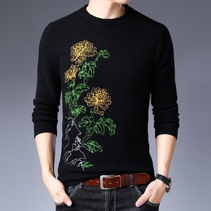 2020 Winter Mens floral sweaters casual fashion thicken knitted Sweater men long sleeve flowers pullovers