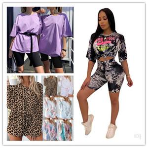 Mulheres Carta Tie Dye Fatos Casual Feminino O pescoço Top Com Shorts Desporto Define Verão Mulheres Two Piece Outfits