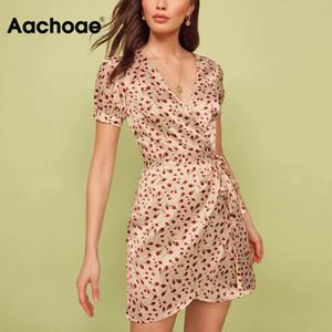 Aachoae elegante stampa floreale del vestito da partito estate manica corta collo delle donne V Wrap Vestitino Vintage Boho Abiti con archetto