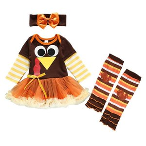 2020 Thanksgiving Day baby girls suits turkey Infant Outfits long sleeve Tutu dresses+headband+ 3pcs set baby girl clothes
