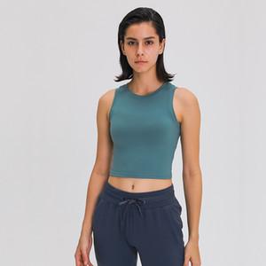 Luyogasports Pull-Up Ronda Pescoço Lu Yoga Colete Lu Top Reunidos Desejado À Prova de Choque Exercício Fitness Ginásio Sports Underwear Mulheres Activewear Camiseta