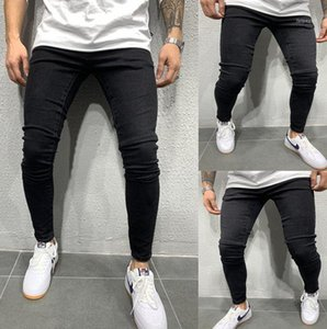 Casual Washed Jeans Fashion Style Slim Fit Mid Waist Homme Pants New Mens Designer