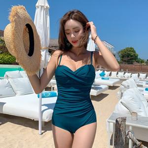 Kadınlar için Koreli küçük göğüs çelik destek Kore Sürüm Yeni tek parça bikini mayo bikini boyutu kaplıca tatil mayo