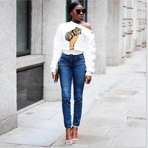 Tshirts Eğik Omuz Dolar Baskı Uzun Kollu Moda Stil Bayan Giyim Gündelik Giyim Kadın Sonbahar Tasarımcı