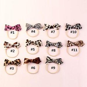 11pcs lot Leopard Print Velvet Baby Bows Nylon Headband Handmade Velvet Bow Hair Band For Babys Infant Hair Accessory