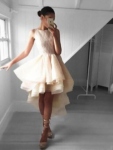 Fairy Ivory High Low Prom Dresses Round Neck Tiered Organza Lace Graduation Dresses Prom Gown Short Homecoming Evening Dresses