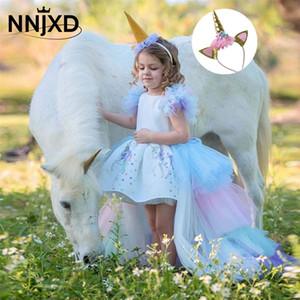Gökkuşağı Kek Kızlar Unicorn Elbise Uzun Kuyruk Tren Elbise Bebek Kız Prenses Doğum Günü Partisi Balo Çocuk At Giysileri Hairband LJ200923