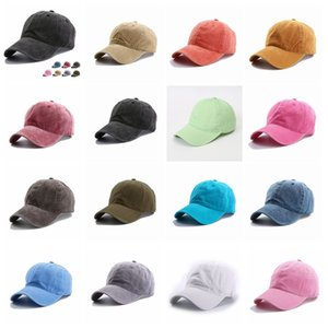 15styles Solid plain Baseball cap ladies washed cotton outdoor men women sunhat hat cap snapback party favor FFA4081