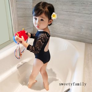 Girls Sexy Swimming Suits Fashion Hollow Out One-piece Swimsuit Long Sleeve Swimwear Children Girls Simple Black Bikinis