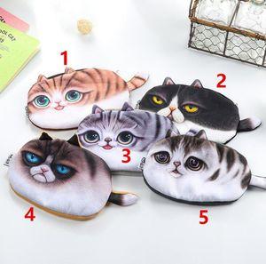 Moedas Bolsa Bag Bolsa Kawaii New Girl 3D Coin Purse Wallet Bag Rosto Ladies Zipper Mini animal do gato Coin Purse Infantil