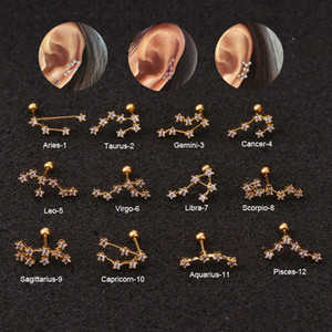 1 PCS Trendy 12 petites oreilles Constellations Stud manchette boucles d'oreilles Déclaration mignon de couleur d'or barre en acier inoxydable boule oreille Bijoux