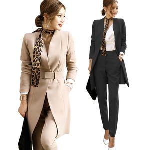 Tops elegantes trajes de las mujeres de negocios 2020 moda de las mujeres + pantalones largos Oficina Conjunto 2 piezas Vestido de mujeres del trabajo formal de alta calidad