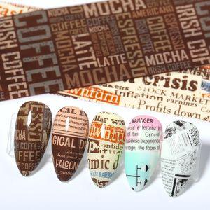 QualityRetro Letters jornais prego Foils Set Transferência Nail Art Sticker Paper Adehesive Wraps Decorações Nail Art DIY