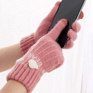 2020 Winter Touch Screen Gloves Thicken Women Men Warm Stretch Knit Mittens Imitation Wool Full Finger Guantes Female Crochet
