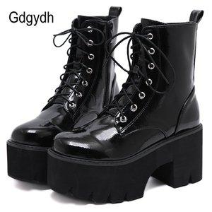Cargadores del tobillo del punk gótico botas de cuero otoño Gdgydh Mujer de encaje de señoras para mujer Chunky plataforma de la cuña de Patentes Negro nueva llegada 2020