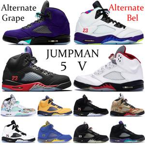 Новый Alternate Бел GRAP 5 5s Баскетбольная обувь Jumpman Top 3 черных белого серебристого металлик красного огня Идущих тапки Fresh Prince Suede Тренеры