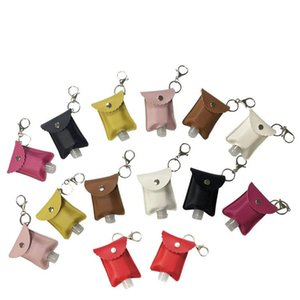 Sanitizer Lip PU Sanitizer Hand Leather Holders Holder Handbag Holder Keychain Cover Printing Lipstick Bottle Chapstick 30ml Kssbj